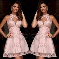 Wholesale Blush Gowns - Semi Formal Cocktail Dresses 2017 Illusion High Neck Blush Pink Lace Homecoming Dresses Sheer Neck Short Prom Party Gowns Sleeveless