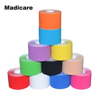 Wholesale Physical Support - Wholesale- 10 Rolls Original Kinesiology Tape Brace Support 5cm x5m Length Sports Bicycle Basketball Fishing Physical Therapy Muscle Tape