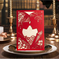 free engagement invitations 2018 - Laser Cut White Hollow-out Bride and Groom Engagement Wedding Invitations Card Event & Party Accessories Free Shipping ZA5438