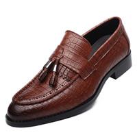 Wholesale Wine Wedding Shoes - Tassel Alligator Leather Shoes Men Pointed Toe Men Shoes Casual Slip On Brown Black Wine
