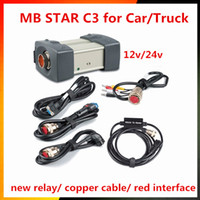 Wholesale Mercedes Star Code Reader - 12 24v DHl Free Shipping MB STAR C3 OBD2 Scanner MB STAR C3 for Mercedes Benz car truck diagnostic tool without HDD software