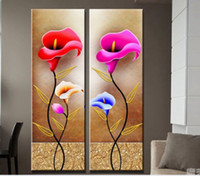 Wholesale Contemporary Floral Wall Paintings - Framed 2PCS Calla Flowers Quality Canvas,genuine Hand Painted Contemporary Wall Decor floral Art Oil Painting.Multi sizes Free Shipping