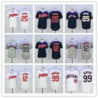 Wholesale Cheap Jersey Good - 2017 Baseball Jerseys Cheap 12 Francisco Lindor Cleveland Indians Blue White Grey Throwback 99 Ricky Vaughn 25 Jim Thome Shirts Good