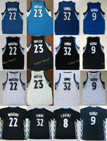Wholesale Blue Anthony - 2017 New 23 Jimmy Butler Jersey Men 32 Karl-Anthony Towns 9 Ricky Rubio 22 Andrew Wiggins 8 Zach LaVine Basketball Jerseys Black Blue White