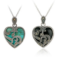 Wholesale Marcasite Pendant Necklace - Wholesale-New Statement Necklace 2 Color Silver plated Marcasite Blue Turquoise Heart Pendant Necklace Metal Chain Necklaces