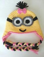 Wholesale Minions Beanies - Minion Hat Crochet Knitted Caps Newborn Infant Toddler Knitted Hat Baby Boys Girls Kids Cartoon Hat Autumn Winter Children Beanie Cotton