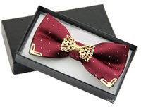 Wholesale Groom Tie Cravat - New Fashion Boutique Metal Head Bow Ties For Groom Men Women Butterfly Solid Bowtie Classic Gravata Cravat