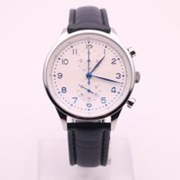 Wholesale Mens Dress Watches Leather Strap - luxury brand watches men white dial leather strap watch chronograph quartz movement 371446 watch mens dress watches