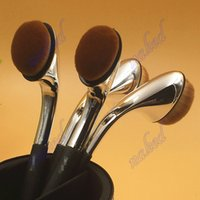 oval plastic pipe - pipe powder makeup brush Electroplated Elbow oval makeup brushes blusher foundation brush single pack Do not eat powder