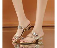 Wholesale Elastic Band Sandals - diamante pearl sandals women sandal open toe high heel summer slippers