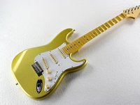 Wholesale Electric Guitar White Maple Neck - Wholesale- Factory custom golden body electric guitar with scalloped neck,3 pickups,white pickguard,chrome hardware,can be customized