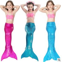 Wholesale Scale Skirt - Girls mermaid swimwear Fashion kids swimsuit kids cute shell bikini fish scales tail Swim skirt 3pcs sets baby girls beach swimsuits T3254