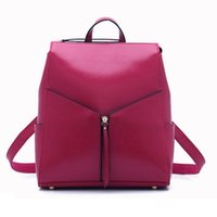 Wholesale Office Leather Bags For Women - Wholesale- 2016 Red Leather Backpack High Quality Designer Fashion Women Leather Backpacks Ladies Office Bag Cute School Bags for Teenagers