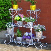 Metal outdoor plant shelf - High quality tiers European retro style indoor outdoor wrought iron plants stand flower pots holder display shelf colors available