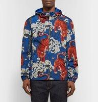 Wholesale Neck Trimmer - 3D Printed Hooded Windbreak Jacket Men Printing Tiger Floral Casual Polyester Wear Men Drawstring Trims Hood Jackets