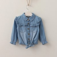 Wholesale Baby Girl Denim Blouse - Everweekend Girls Denim Bow Tees Ruffles Vintage Sweet Children Fashion Blouse Western Korea Fashion Children baby Tops