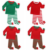 Wholesale Branded Kids Stripe Shirt - Kids Clothes Baby Christmas Pajamas Boys Xmas Stripe Nightsuits Girls Cotton T Shirts Pants Outfits Long Sleeve Tops Trousers Suits Gifts K3