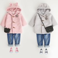 Wholesale Pink Animal Hood - Children coats Girls plush Cartoon animal ears hooded outwears Autumn Kids stereo moose single-breasted pure color coats Kids clothes C1619
