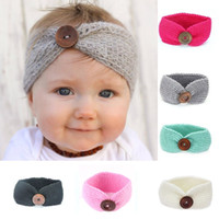 Wholesale Toddlers Head Wraps - 2017 Baby Girls Crochet Knitted Headbands Infant Toddler 7 Colors Wool Buttons Hairbands Autumn Winter Head Wrap Children Hair Accessories