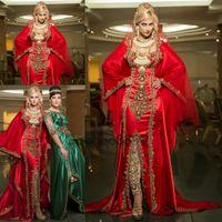 abaya saten dubai toptan satış-Sparkly Sofistike Abiye giyim kırmızı altın nakış Saten Fas Dubai Kaftan Abaya Elbise Uzun Kollu Orta Doğu gelinlik Modelleri