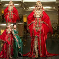 Wholesale Sexy Sophisticated Prom Dresses - sparkly Sophisticated Evening Gowns red gold embroidery Satin Moroccan Dubai Kaftan Abaya Dress Long Sleeve Middle East prom Dresses