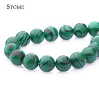 Wholesale Natural Blue Turquoise Beads - Natural Malachite Round Loose Beads Gemstone 4-14MM For Make Bracket Jewelry S-001 Stome