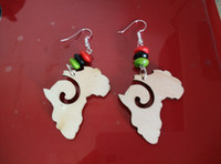 Wholesale bead hoop earring - Wholesale- Free Shipping! 5 pairs lot African Map Beads Wooden Earrings Jewelry