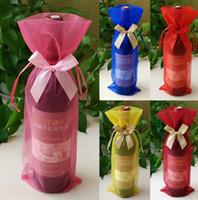 süßigkeit taschen korea großhandel-20 stücke (6 designs für wahl) 14 * 37 cm Dicker Korea Bowknot Weinflasche Schmuck Organza Taschen Hochzeit Süßigkeiten Weihnachtsgeschenk Taschen