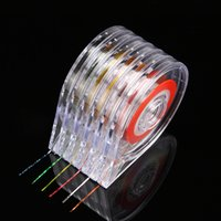 Wholesale Clear Nail Tape - 6pcs set Nail Art Gold Silver Striping Tape Clear Holder 3D Decoration Stickers Roller Transparent Empty Case Boxes Manicure Kit