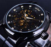 Wholesale Leather Hand Bands - Winner Leather Band Diamond Skeleton Design Black Golden Skeleton Watch Men Automatic Watch Male Clock Men
