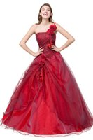 Wholesale One Shoulder Debutante Dresses - Red Quinceanera Dresses Cheap 2017 Sweet 16 Teens Ball Gown Debutante Masquerade Prom Dresses Cheap Real Photo One Shoulder Formal Dress