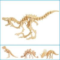modelos livres do enigma 3d venda por atacado-Atacado-Dinossauro 3D Puzzle De Madeira DIY Simulação Modelo Crianças Brinquedos Educativos Jigsaw 3D Crianças Presentes Frete Grátis