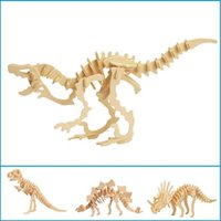 Wholesale Dinosaurs Wood - Wholesale- Dinosaur 3D Wooden Puzzle DIY Simulation Model Children Educational Toys 3D Jigsaw Kids Gifts Free Shipping