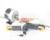 Wholesale 24v geared motor - 350W Electric DC Gear Motor Kit And Controller And Throttle Handle With Battery Voltage Show And Key Switch DIY Electric Vehicle