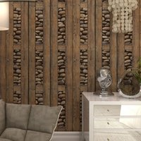 Wholesale Rolling Stones Vintage - Wholesale-Vintage Wall Paper Waterproof PVC Wallpapers 3d Stone Wallpaper Contact Paper,3D Wall Panels Vinyl Wood Wallpaper Roll for Walls