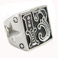 Wholesale lucky 13 rings for sale - Group buy FANSSTEEL stainless steel vintage mens or wemens jewelry SIGNET lucky EVIL cutout star BIKER RING number RING W33