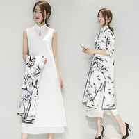 Wholesale Mading Simple - ALW0117 Cotton Linen Women Dresses Fashion China Cheongsam Ink Printing Seven-point Sleeve Two-piece Dresses