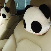 Wholesale Cartoon Headrest - 2016 cartoon Car headrest neck pillow Cushion Head Neck Rest Bustle Free Shipping Fluffy cute panda neck pillow