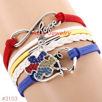 Wholesale Gold Puzzle Piece Charm - Wholesale-2016 New Arrival Autism Awareness Bracelet Infinity Hope Rhinestone Puzzle Piece Charm Bracelet 6Pcs Lot ! Free Shipping!