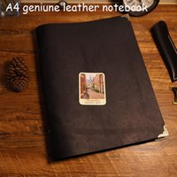 Soft Copybook black leather notepad - A4 size handmade notebook genuine leather cover travel journal filler kraft paper vintage black color school sppulies notebook