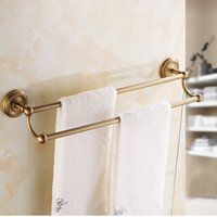 Wholesale Luxury Bathroom Accessories Set - Luxury Antique Brass Bath Hardware Towel Hanger Set Rack Bar Paper Holder Shelf Hook Bathroom Accessories