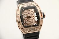 Wholesale Color Glass Diamond - 2017 new Skull Tourbillon luxury mens wristwatch 43mm diamond skeleton quartz watch watches transparent glass back mens watches