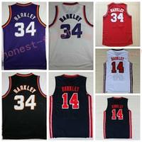 Wholesale Men S Fashion Usa - 1992 USA Dream Team One 14 Charles Barkley Jersey Fashion 34 Charles Barkley Shirts Throwback Uniforms Red Black Purple White Navy Blue