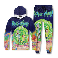 Wholesale Rick And Morty Pattern printing Joggers Tracksuit Unisex Pants Hoodie Sweatshirts Outfit