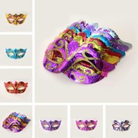 Wholesale venetian carnival masks - On Sale Party masks Venetian masquerade Mask Halloween Mask Sexy Carnival Dance Mask cosplay fancy wedding gift mix color IB393
