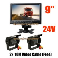 "Wholesale 18 led reversing camera - 2x 24V 18 LED IR Reversing Camera Waterproof + 9"" LCD Monitor Car Rear View Kit for Bus Truck Free Shipping"