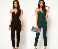 Wholesale Hot Items Europe - hot sale europe women's jumpsuits V neck sleeveless Rompers popular sale items backless women's clothes