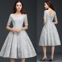 Wholesale Cap Sleeve Silver Homecoming Dresses - 2017 Elegant Short Mother Of The Bride Dresses New Arrival Silver Lace A Line Homecoming Dresses Evening Party Gowns CPS679
