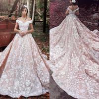 hermoso vestido de novia rosa al por mayor-Lujo Estilo árabe de la vendimia Una línea Vestidos de novia Hermosa 3D Flora Sin espalda Vestidos de encaje Vestidos De Novia Vestidos de novia Rosados