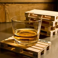 Boissons Mini Bar En Gros Pas Cher-Wholesale-4pcs / set Rectangle Mini plateau en bois Palette Set Whisky verre à vin Couvercle Mat Pad chaud froid boisson bois Table Mat Tool ZQ878076